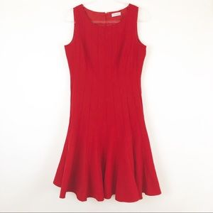 Calvin Klein [10] Red Sleeveless Fit & Flare Dress